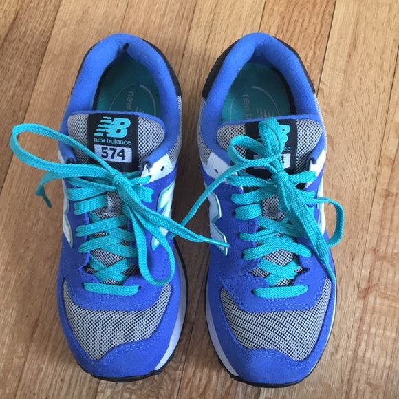 Women's Classic Blue and Teal New Balance 574